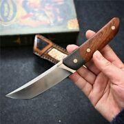 Collectible D2 Steel Fixed Blade Knife Wood Handle Hand Stitched Sheath Edc Camp