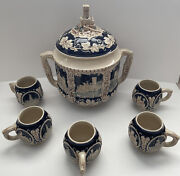Vintage Marzi And Remy German Castle-punch Bowl Soup Tureen Set W/5 Mugs And Lid