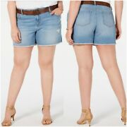 New Style And Co Plus Distressed Belted Shorts, Mid Rise, Size 20w