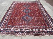 Antique Vintage Worn Traditional Hand Made Oriental Wool Red Carpet 305x245cm