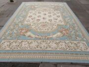 Vintage Hand Made French Design Wool Blue Large Original Aubusson 373x272cm