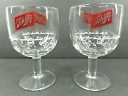 2 Schlitz Beer Milwaukee Famous Clear Glass Goblet Thumb Print Vintage Stemware