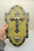 + Beautiful Antique Marble And Enamel Holy Water Font + H52wf Chalice Co