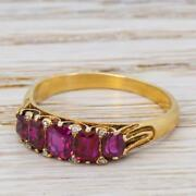 Victorian 1.20ct Ruby Five Stone / Half Hoop Ring - 18k Yellow Gold - C 1900