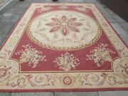 Vintage Hand Made French Design Wool Maroon Red Gold Original Aubusson 365x270cm