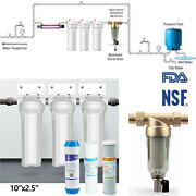 10x2.5 Whole House Water Filter System 3 Stage Filtration Sediment Water Filter