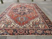 Antique Traditional Hand Made Vintage Oriental Wool Red Blue Carpet 385x282cm