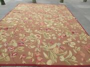 Vintage Hand Made French Design Wool Brown Green Original Aubusson 374x280cm