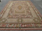 Vintage Hand Made French Design Wool Brown Pink Blue Original Aubusson 353x254cm