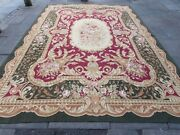 Old Hand Made French Design Wool Green Burgundy Red Original Aubusson 389x270cm