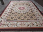 Old Hand Made French Design Wool Beige Brown Green Original Aubusson 363x276cm
