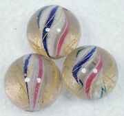 1+ Three Large Same Cane Solid Core Handmade Vintage Antique Marbles