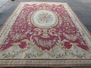 Old Hand Made French Design Wool Red Original Aubusson 368x278cm 12x9