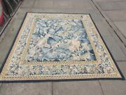 Vintage Hand Made French Design Original Wool Green Aubusson Tapestry 165x183cm