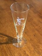 Vintage Antique Footed Pilsner Pint Glass Penny-farthing Man Playing With Dog