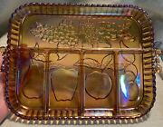 Vintage Marigold Carnival Glass 5-section Tray Indiana Glass Co Fruit Design