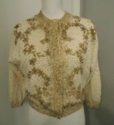 Vtg 1950and039s Sz Med/large Gene Shelly Heavily Beaded Gold Cream Lambswool Cardigan