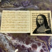 Wood Rubber Stamp Lot Mini Mona Lisa Collag And Music Notes Sheet With Lyrics