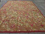 Vintage Hand Made French Design Wool Brown Green Original Aubusson 370x280cm