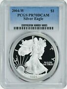 2004 W American Eagle 1 Pcgs Pr70dcam 1oz .999 Proof Silver Coin In Mint Slab