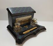 Tartanware Stationery Desktop Victorian Inkwell Stand And039abercrombieand039