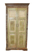 Old World Carved Armoire Rustic Carved Floral Cabinet Boho Farmhouse Cabinet
