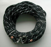 3/8 X 115 Ft. Dac./polyester Halyard S/s Snap Shackle Black W/white Tracer