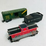 Lot Of 3 Vintage Tin Marx O Scale Gaex Box Car Nyc Caboose 20102 Nyc Tender