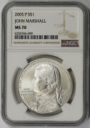 2005-p Chief Justice John Marshall Modern Silver Commemorative 1 Ms 70 Ngc