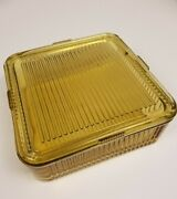 Vintage Amber Federal Glass Ribbed Refrigerator Dish With Lid  8-1/2 Square