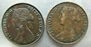 New Brunswick Km6 One Cent 1861 And 1864 Decent Circulated Pair.