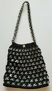 Shoulder Bag Purse Crocheted Aluminum Can Pull Tabs Black Nylon Cord Lined Snaps