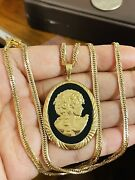 K18 Japan Gold Black Onyx Agate Cameo Necklace 18andrdquo/45cm 3.2mm 19.64g Double Lock