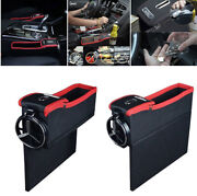 Car Driver Seat Storage Organizer Box W/ Cup Coil Pocket Left Side Fit Universal