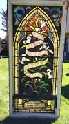 Antique Stained Leaded Glass Church Window W/ Verse 1910
