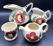 Vintage Lot Purinton Apple Pottery 4 Pieces Large And Small Jug Pitcher Teapot Cup
