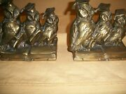Antique Vintage Jennings Brothers 1460 Graduating Owl Bookends Book Ends