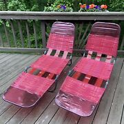 Set Of 2 Red Folding Adjustable Lawn Chaise Lounge Chair Beach Vinyl Tube Retro