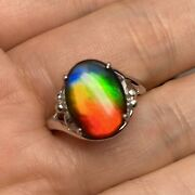 Ammolite Ring Gemstone Rainbow Color Sterling Silver For Women Size 7.5 2317