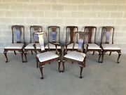 Stickley Queen Anne Chippendale Style Solid Cherry Dining Chairs - Set Of 8