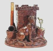 Antique 1800and039s Black Forest Pipe Tobacco Humidor Hunting Dog With Glass Eyes
