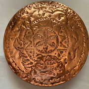 Large Vintage Brass Copper Hand Hammered Serving Wall Hanging Tray
