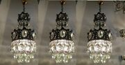 3 Pcs Antique Vnt French Chrub Crystal Chandelier Lamp Light 1960and039s 9 In Dmtr