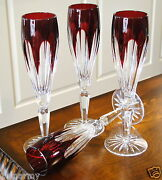 Faberge Crystal Lausanne Flutes Glasses, Ruby Red Cased Cut To Clear Crystal