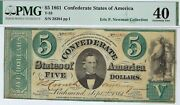 T-33 Pf-7 1861 5 Confederate Paper Money - Pmg Extremely Fine 40
