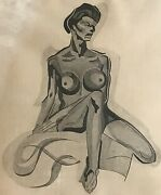 Vtg 60s Charcoal Nude Drawing Retro Art Mid Century Modern Naked Wall Hanging