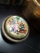 Antique Persian Silver Snuff Box Compact Mirror Mother Of Pearl Polo Inlay Paint