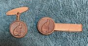 Antique Classic And Classy High Wheeler Cycling Money Clip And Cufflink Matched Pair