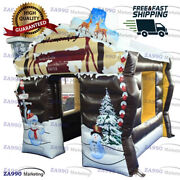 8.2x8.2ft Inflatable Christmas House Santa Claus Grotto Tent With Air Blower