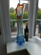 Huge Vintage Murano Blue, Red And Clear Art Glass Vase C1960's